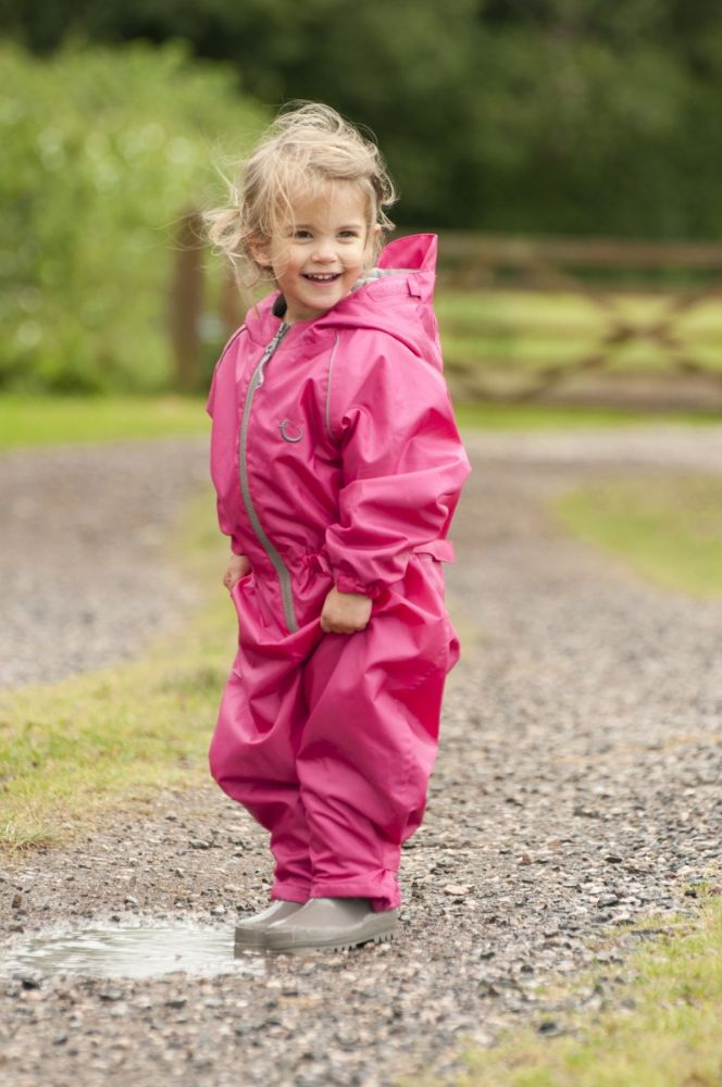 New Hippychick Waterproof Pink Fleece Lined All In One Suit
